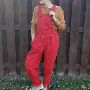 Vtg Gitano red paperbag suspender jumper 13/14